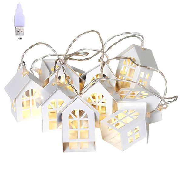 LED Christmas Tree House Fairy Style Led Light Chain Wedding Christmas Garland New Year Christmas Decorations For Home