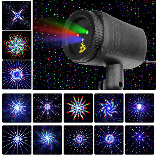 Laser Christmas Lights Red Green Blue Moving RGB 20 Patterns Projector IP65 Outdoor RF Remote For Xmas Holiday Garden Decoration