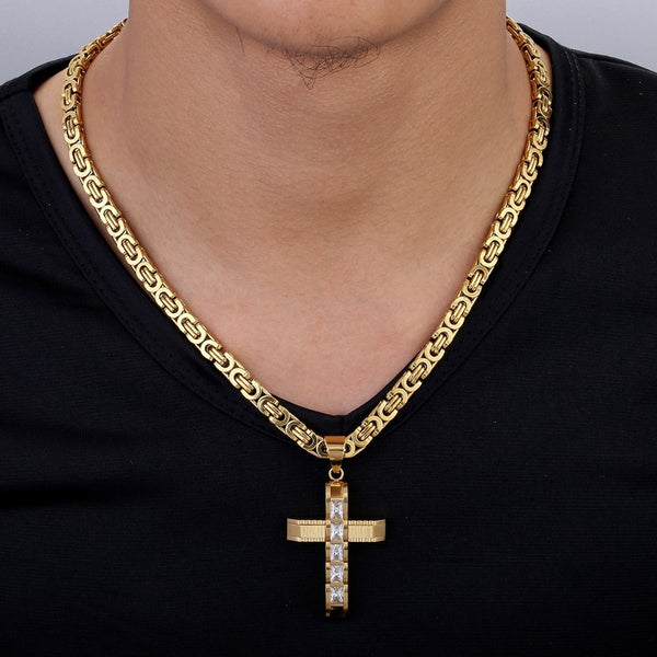 Male Cross Necklace for Men Gold Silver Black Stainless Steel Byzantine  Chain Necklaces 2018 Fashion Men's Jewelry Hip Hop KPM86