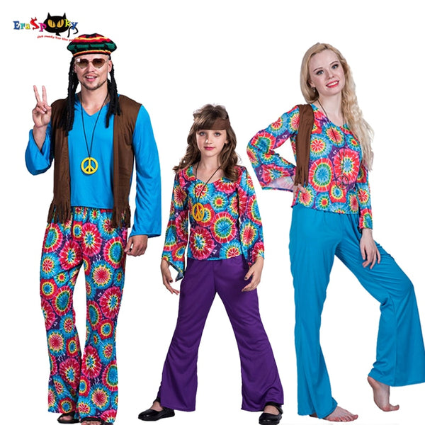 70s Retro Hippie Peace And Love Cosplay Family Group Fancy Dress
