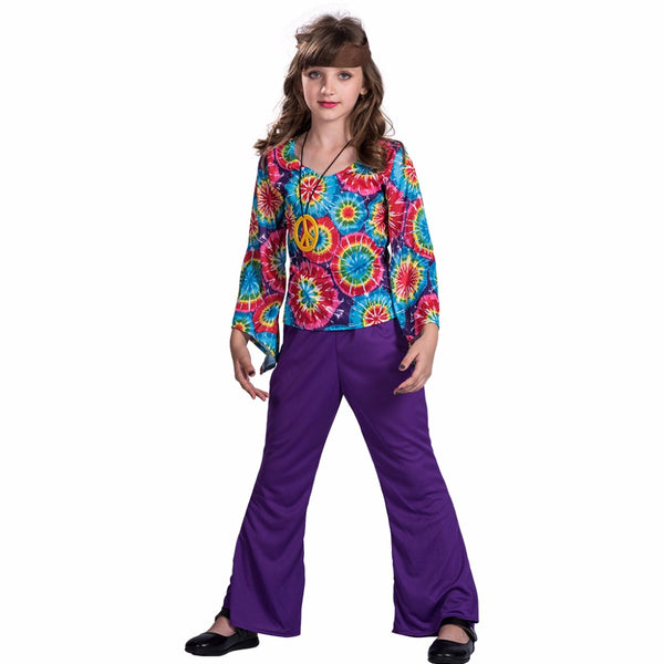 70s Retro Hippie Peace And Love Cosplay Fancy Dress -  Woman