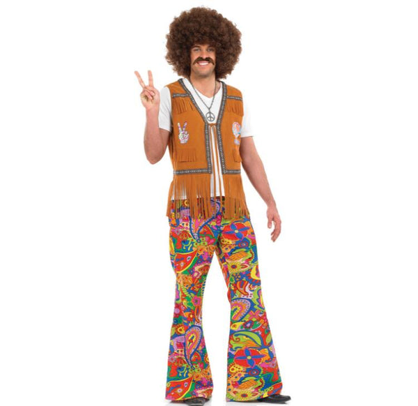 Men Women Hippie Costume Adult Carnival Party 60s 70s Retro Hippie Go Go Girl Disco Clothing Halloween Costume For Couple