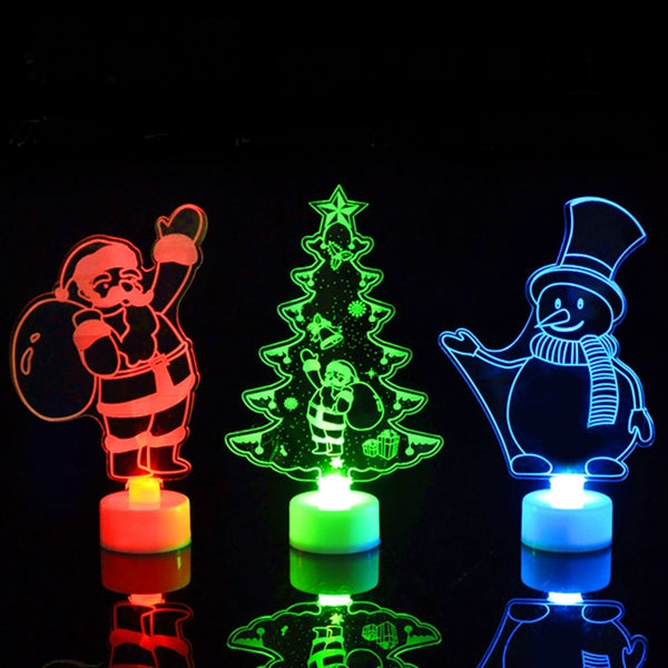 Merry Christmas Acrylic LED Light Christmas Tree Ornaments Pendant Christmas Santa Claus Snowman Light Xmas 2019 Navidad  Decor