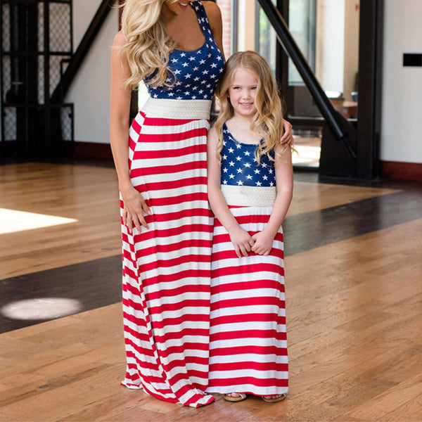 Mommy&me Baby Girl Family Summer Sleeveless Stripe Print 4th Of July Dress Girls Dress Cute For Birthday Party Princess Dress gg