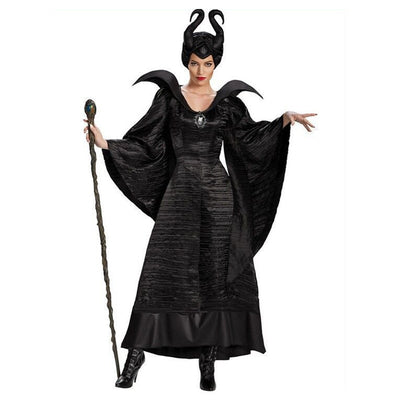 Movie Maleficent Costume Evil witch Cosplay Outfit Halloween Fantasia Party Fancy Dress