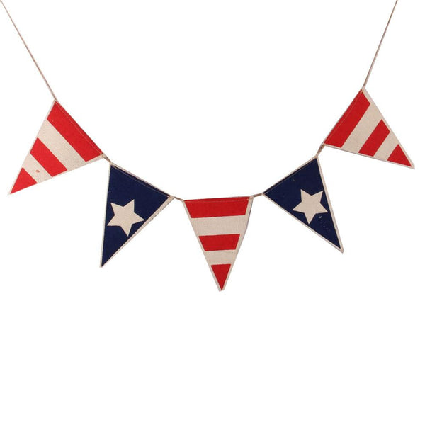 New Home Party Hanging Dec Patriotic Pennant Banner Burlap Flag Bunting Banner For 4th Of July Independence Day Decoration1 Set