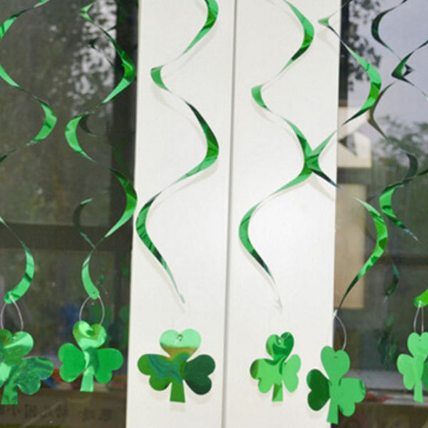 New Set 6 Irish St Patricks Day Shamrock Hanging PVC&Paper Swirl Ornaments Hot Sale Green Decorations