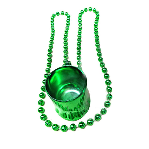 New St Patrick Day Mini Beer Mug Pendant Bead Chain Necklace Party Jewelry Decor