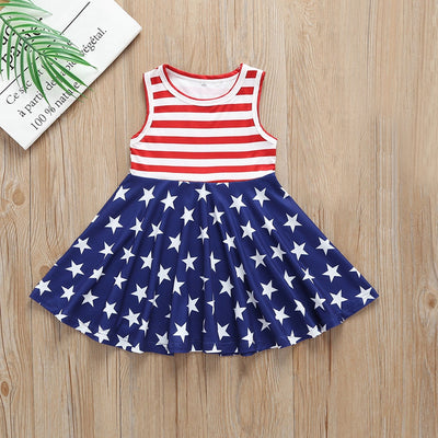 New Style Girls Dress Toddler Baby Girls Star Print 4th Of July Fashion Dress Striped Clothes Popular Costumes  For Baby Dress