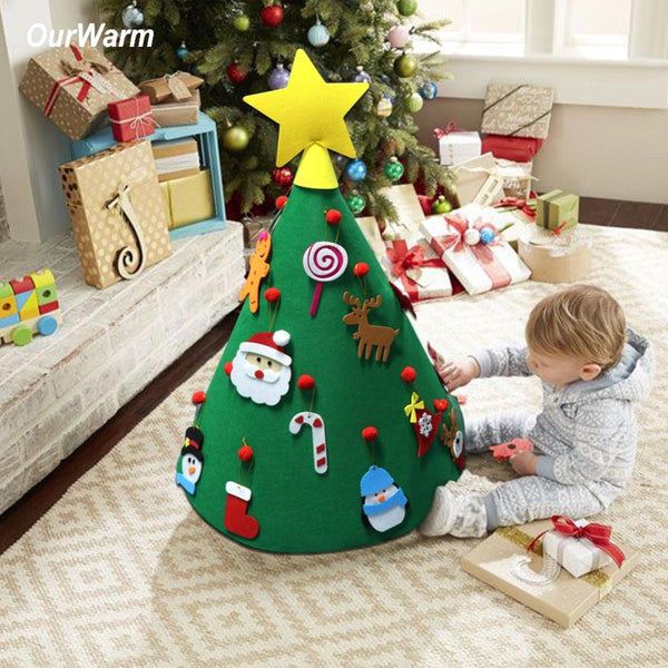 DIY Felt Toddler Christmas Tree New Year Kids Gifts Toys Artificial Tree Xmas Home Decoration Hanging Ornaments