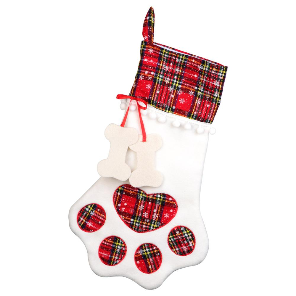 Large Plaid Paw Christmas Stocking for Dog Cat Christmas Gift Bags	Xmas Tree Ornaments New Year Decoration navidad