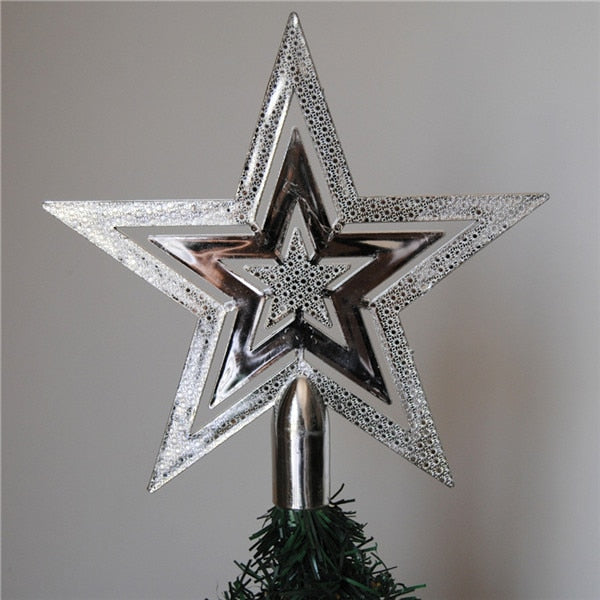 PF Christmas Tree Topper Star Plastic Christmas Star Tree Topper for Christmas Table Decor Colorful Craft Xmas DIY Accessories