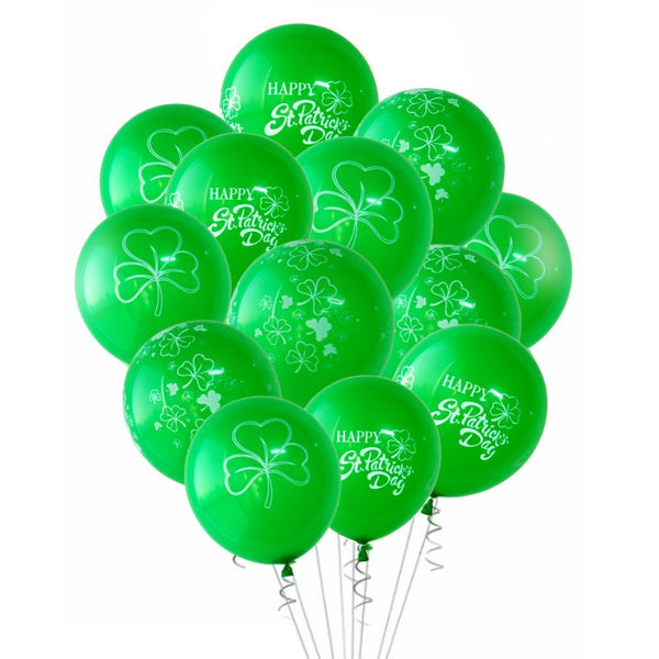 Pack Of 15pcs Happy St Patricks Day Decorations Clover Shamrock Latex Balloons For Irish Party Decoration