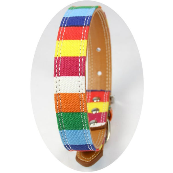 Pet Dog Canvas Collar for Small Dog Size XS S M L XL PU Leather Plain Collar for Big Small Dog Colorful Rainbow Dog Collar