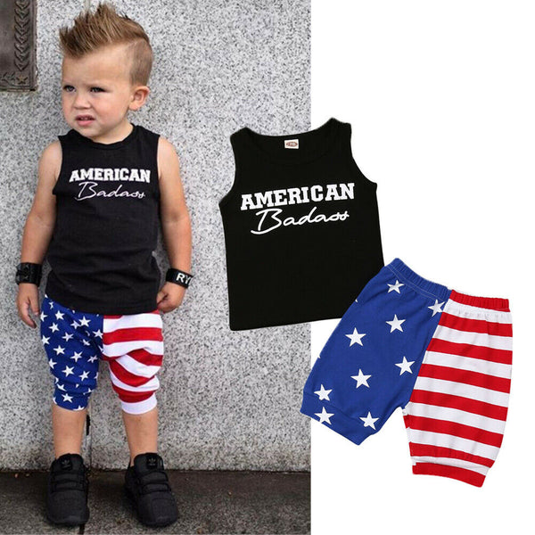 d44f5d82aa45 Pudcoco 2019 Summer 4th of July Toddler Baby Boys Kids Casual Clothes  T-shirt Tops