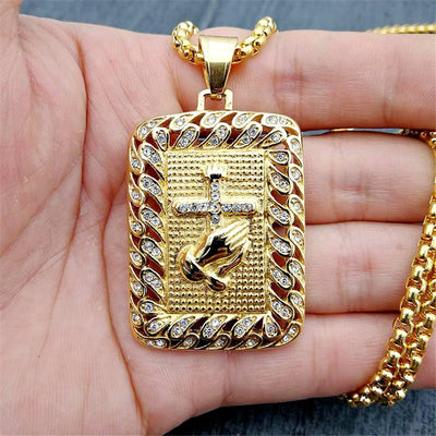 Religious Square Prayer Hands Cross Pendant Necklace for Women/Men Gold Color Stainless Steel Christian Necklaces Male Jewelry