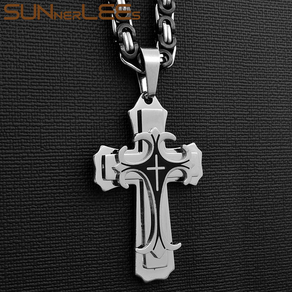 SUNNERLEES Stainless Steel Jesus Christ Cross Pendant Necklace Byzantine Link Chain Gold Color For Men SP208