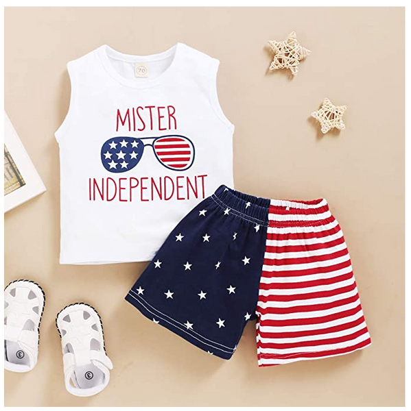 I Love America Baby Boy 4th of July Outfits, Summer Sleeveless T-Shirt Vest+ US Flag Shorts Pants Clothes Set Independence Day