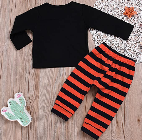 Fashion Baby Clothes Toddler Kids Suit 2Pcs Witches Ain't Loyal Print Top+Stripe Pant Halloween Costume Clothing Set
