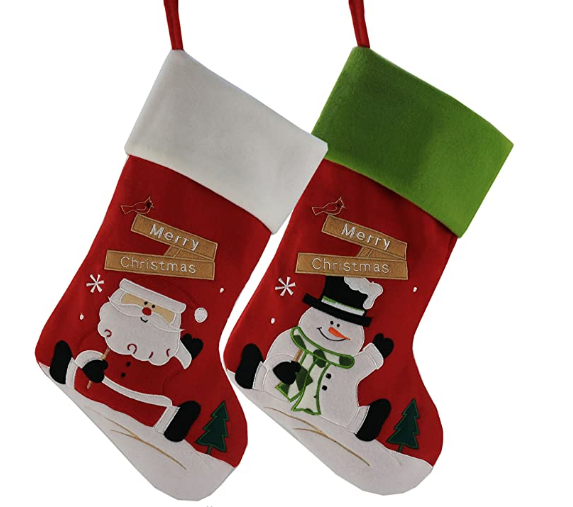 1 pair Women Girls Christmas 3D Santa Claus Pattern Floor Cotton Stocking Gift Holders