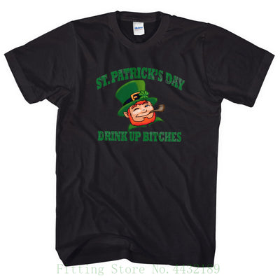 St Patricks Day T Shirt Drink Up Bitches Leprechaun Funny Slogan Tee Men L25 Cute Tatoo Lover T-shirt