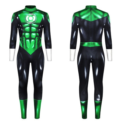 Superhero The Flash Green Lantern Jumpsuit Cosplay Costume Bodysuit Zentai Suit Halloween