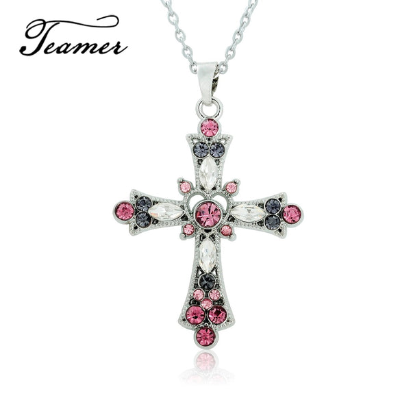 Teamer 2018 Fashion Pretty Purple and Pink Crystal Religious Crosses Pendant Necklace for Teens and Women Amulet Jewelry
