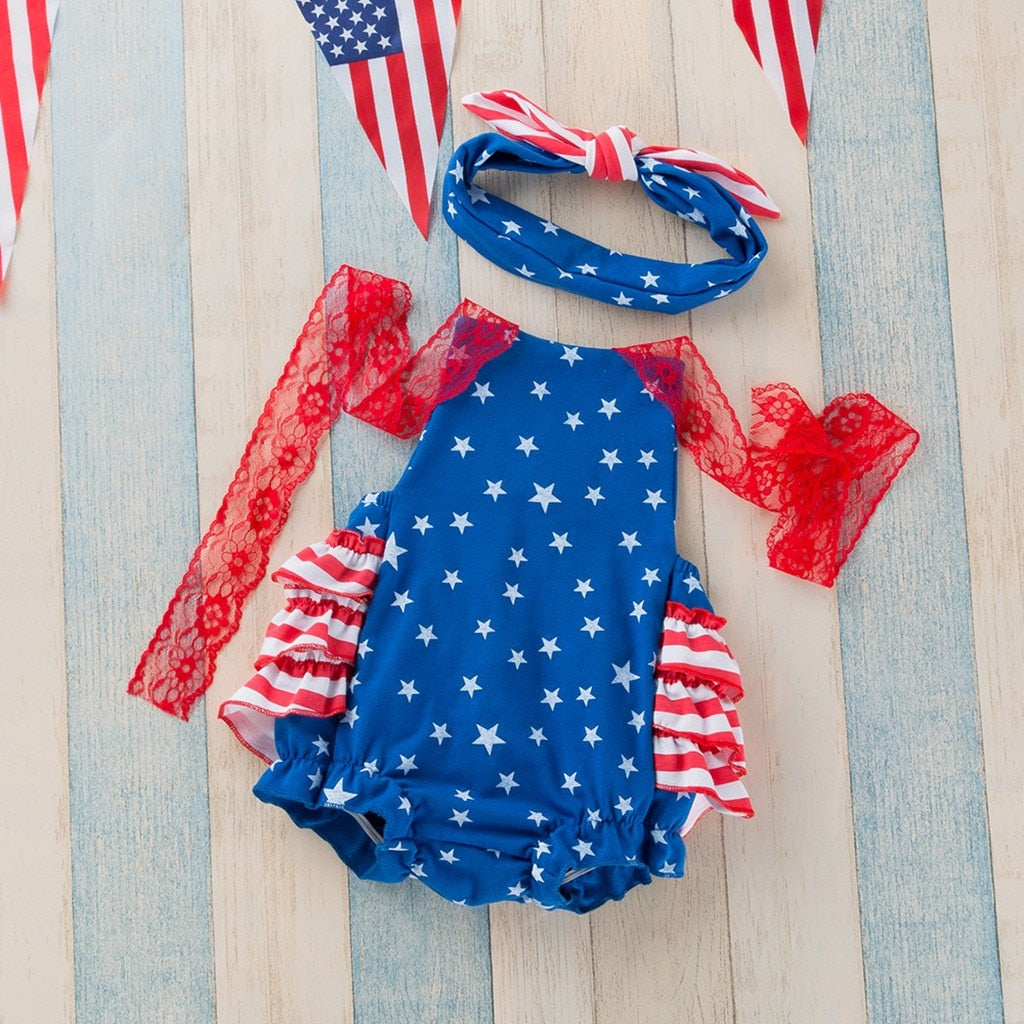 cd9ae9129 ... Toddler Baby Girls 4th Of July Independence Day Sleeveless Lace Sling  Stars Print Climbing Jumpsuit Romper ...