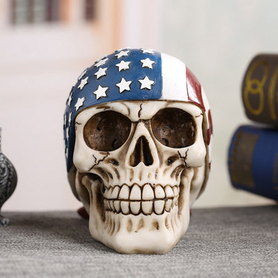 USA American Flag Skull Statues Sculptures Resin Halloween Home Decor Decorative Craft Skull Ornaments Creative Art Carving