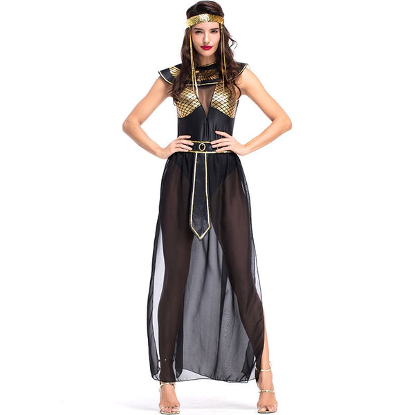 Umorden Carnival Party Halloween Egyptian Cleopatra Costume Women Adult Egypt Queen Cosplay Costumes Sexy Golden Fancy Dress