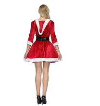 Women's Christmas Costume Xmas Santa Costume Sexy Costume Long Sleeve Plush Warm Hooded Fancy Pleated Dress