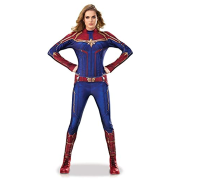 Adult Women Captain Marvel Cosplay Costume Kid Girl Superhero Marvel Cosplay Halloween Ms Marvel Carol Danvers Jumpsuit Bodysuit