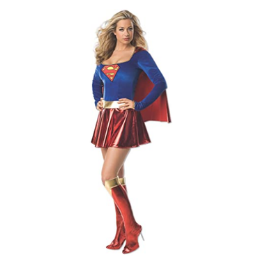 Supergirl Cosplay Costumes Super Woman Sexy Fancy Dress with Boots Girls Superman Battle Suit  Halloween Cosplay Costumes