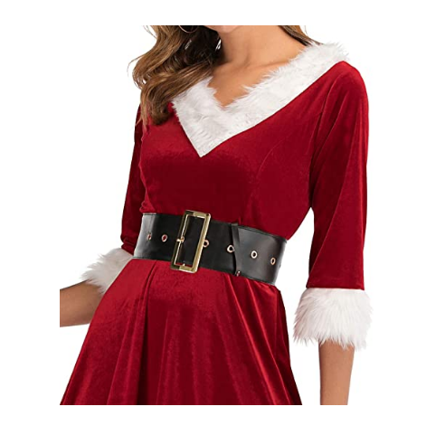 Women Christmas Dress Bandage Long Sleeve Dress Bodycon Holiday Family Party Dress Vestidos Faux Fur Collar Dress #FN02