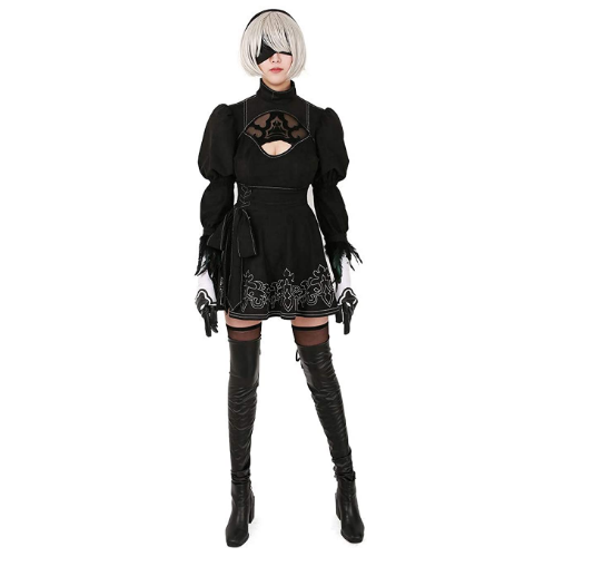 Chinese Size Nier Automata Yorha 2B Cosplay Suit Anime Women Outfit Disguise Costume Set Fancy Halloween Girls Party Black Dress