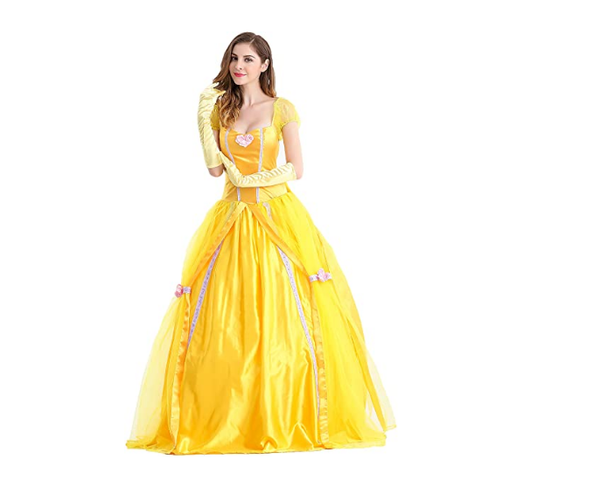 Beauty And The Beast Bell Yellow Long Dress Halloween Costume Belle Princess Dress Masquerade Carnival Adult Belle Roles Suit