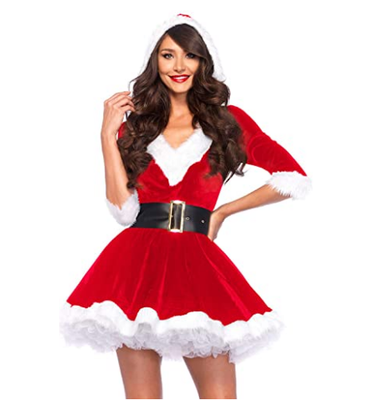 Fashion Christmas Dresses Women Clothes Sexy Santa Claus Halloween Cosplay Red Velvet V Neck Half Sleeve One Piece Hat Dress