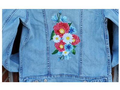 Roses Jean Jacket Back Patch Upcycled Denim Jacket Womens Size XLarge 16