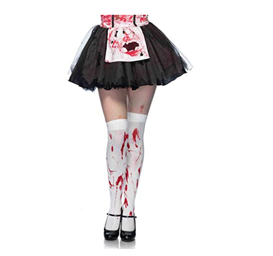 2018 Funny Cosplay Striped Over The Knee Stockings Halloween Blood Forked Bone Pattern Women's Cosplay Terror Blood Socks