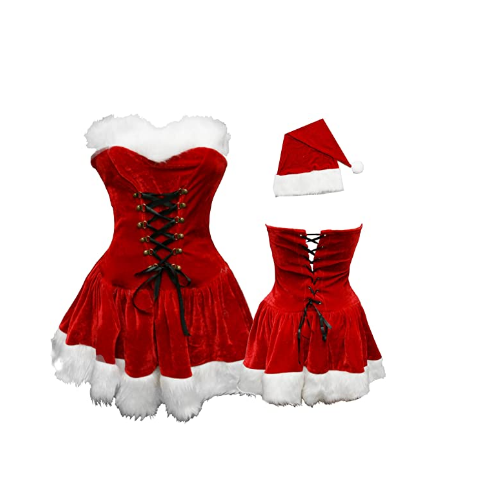 M L XL 2XL High Quality Women Christmas Dress Sexy Red Velvet Holiday Dress Santa Claus Costume Plus Size