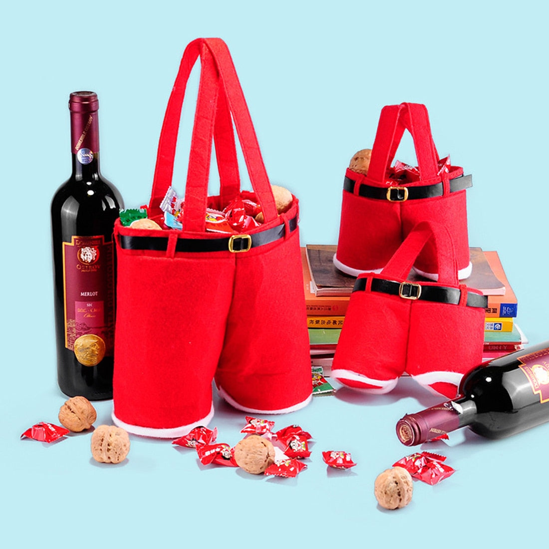 Useful 1Pc Merry Christmas Gift Treat Candy Wine Bottle Holder Santa Claus Suspender Pants Trousers Decor Christmas Gift Bags