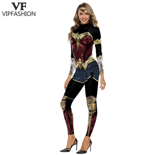 VIP FASHION Wonder Women Girl Costume Cosplay Bodysuit X-Men Team Super Hero Marvel Printed Halloween Costumes For Women