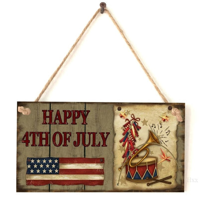 Vintage Wooden Hanging Plaque Happy 4th Of July Sign Board Wall Door Home Decoration Independence Day Party Gift