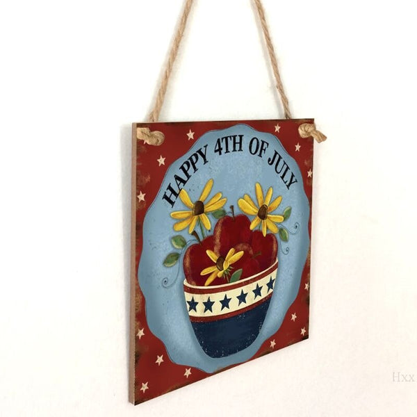 Vintage Wooden Hanging Plaque Happy 4th Of July Sign Board Wall Door Home Decoration Independence Day Party Gift JM01418