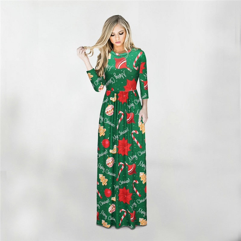 6791923b98 ... Women Winter Dresses 2018 Christmas Tree Long Dress Casual Long Sleeve Print  Party Dress Plus Size ...