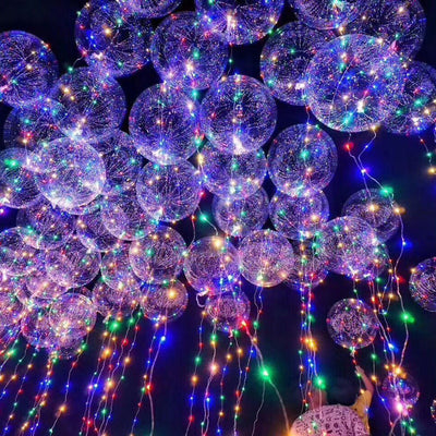 18/24inch Clear Bubble Balloon Luminous LED Lights String Up Balloons Round Ball Wedding Hen Party Happy Birthday Supplies