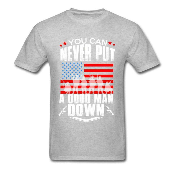 A GOOD MAN DOWN Pure Cotton T Shirt Men Short Sleeve Casual T Shirt USA Labor Day Crewneck T-shirts Apparel Free Shipping