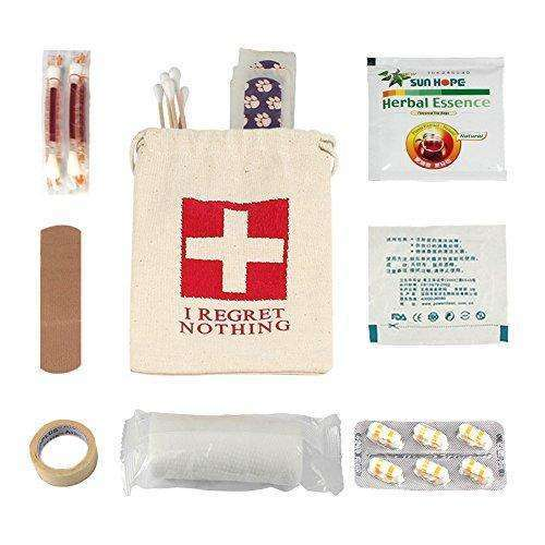 "AerWo 10pcs ""I Regret Nothing"" Cotton Muslin Bags & Hangover Kit Bags with Double Drawstring, Customized Hangover Survival Kit First Aid Kit for Bachelorette Party Supplies Wedding Welcome Bag, Ivory"