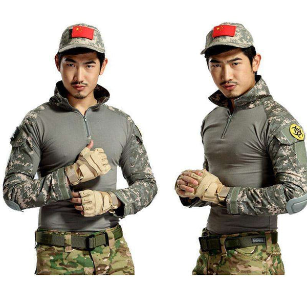 aichAngeI Tactical Camouflage Military Uniform Clothes Suit Men US Army clothes Military Combat Shirt + Cargo Pants Knee Pads