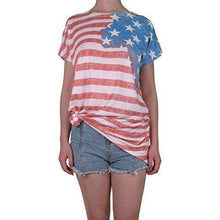 Aifer Women's American Flag Striped T-Shirts 4th July Short Sleeve Loose Blouse USA Flag Tops
